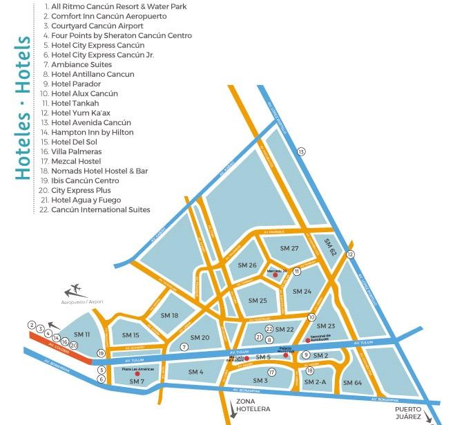Mapa hotéis no Centro de Cancún