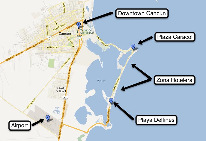 Mapa explicativo das regiões de Cancún