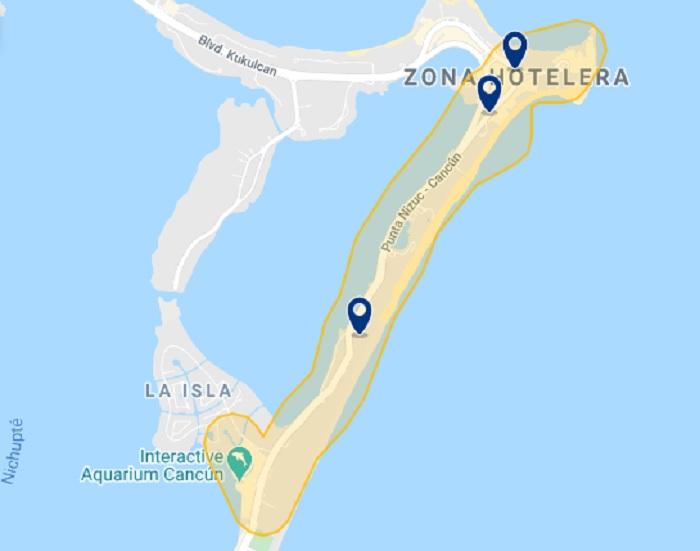 Mapa de melhores hotéis na Zona Hoteleira