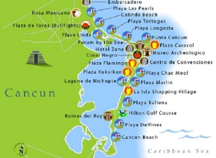 Praias de Cancún - Mapa