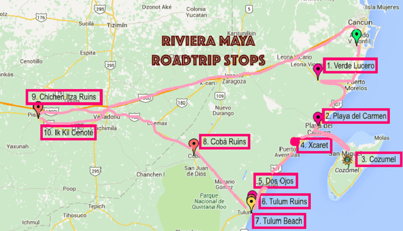 Mapa com os principais passeios de Cancún