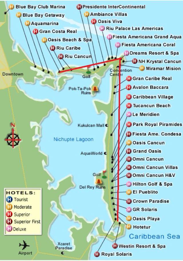 Mapa da Zona Hoteleira de Cancún