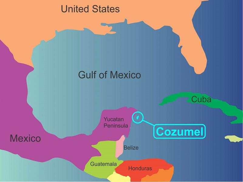Ilha de Cozumel - Mapa