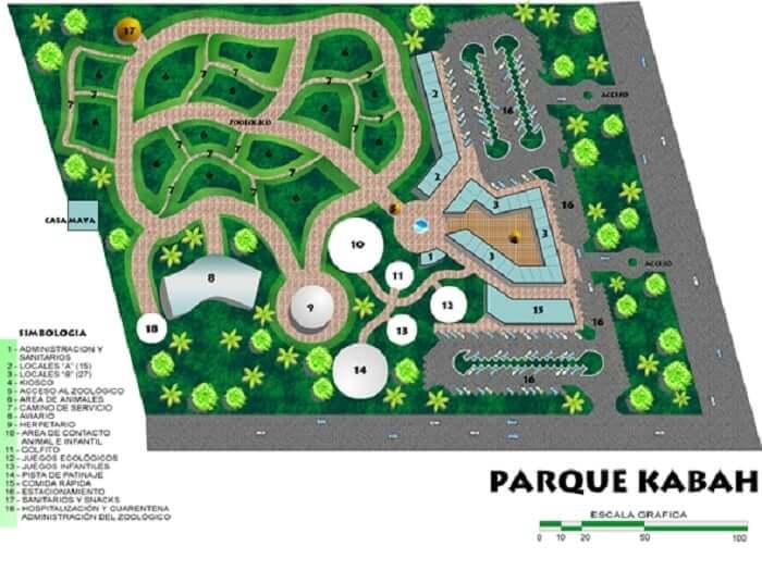 Urbano Kabah Park em Cancún Mapa