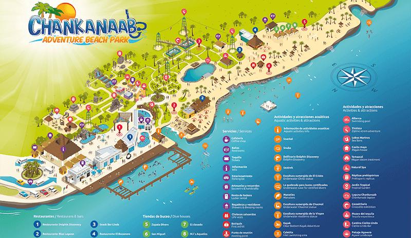Parque Chankanaab Beach Adventure Park em Cancún Mapa