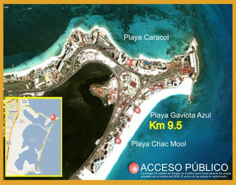Mapa da Playa Caracol em Cancún