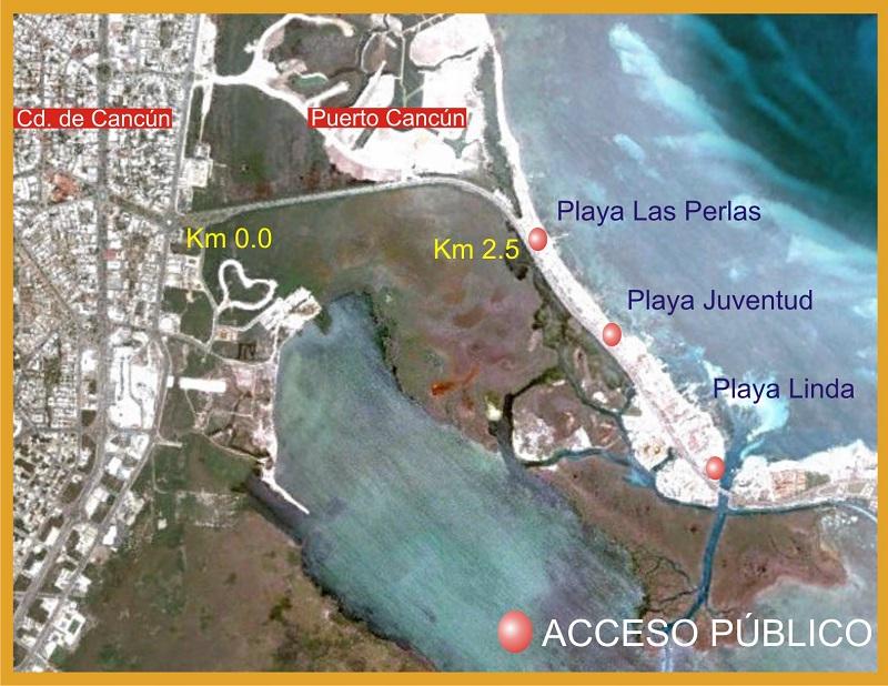 Mapa da Playa Las Perlas em Cancún
