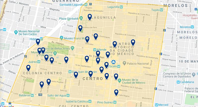 Mapa das melhores regiões para ficar na Cidade do México