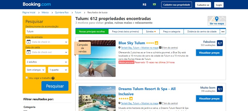 Booking Tulum no México