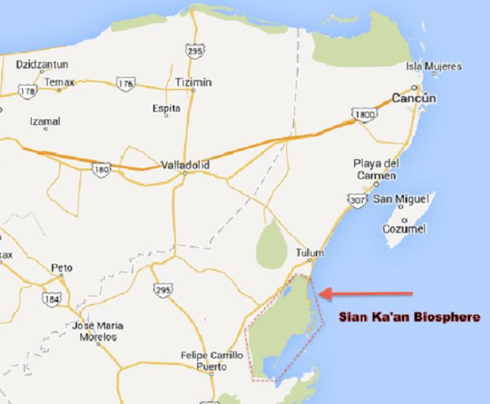 Mapa da reserva Sian Ka' an em Tulum