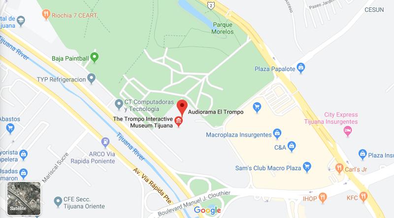 Mapa do Museu El Trompo em Tijuana