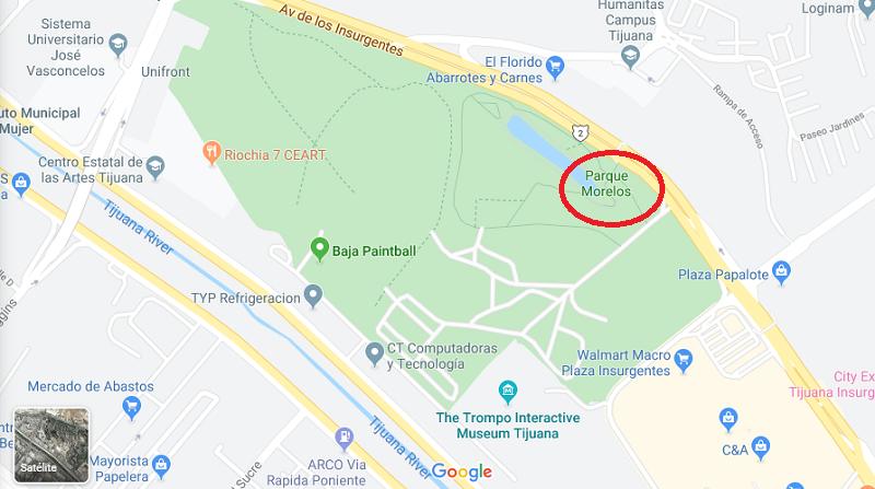 Mapa do Parque Morelos em Tijuana