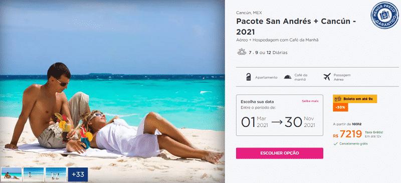 Pacote San Andrés + Cancún Hurb