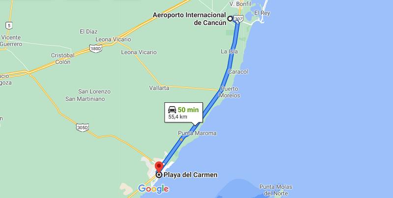 Mapa do aeroporto de Cancún até a Playa del Carmen